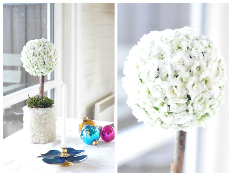 Pomander med hvide blomster