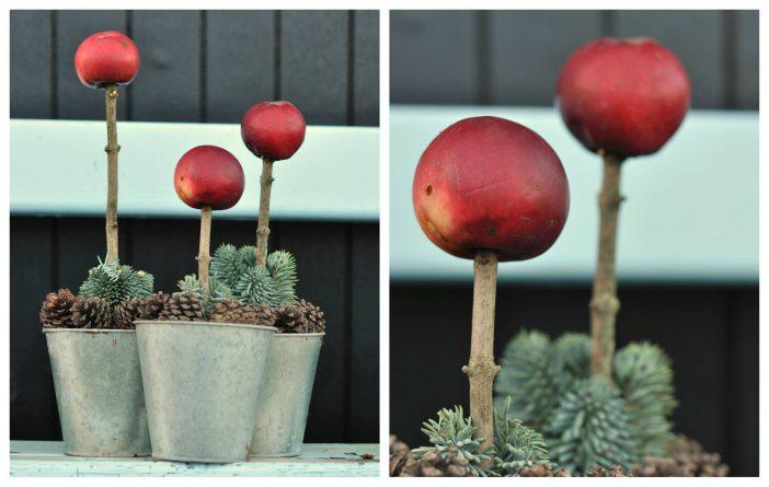 Juledekoration med æbler på pind