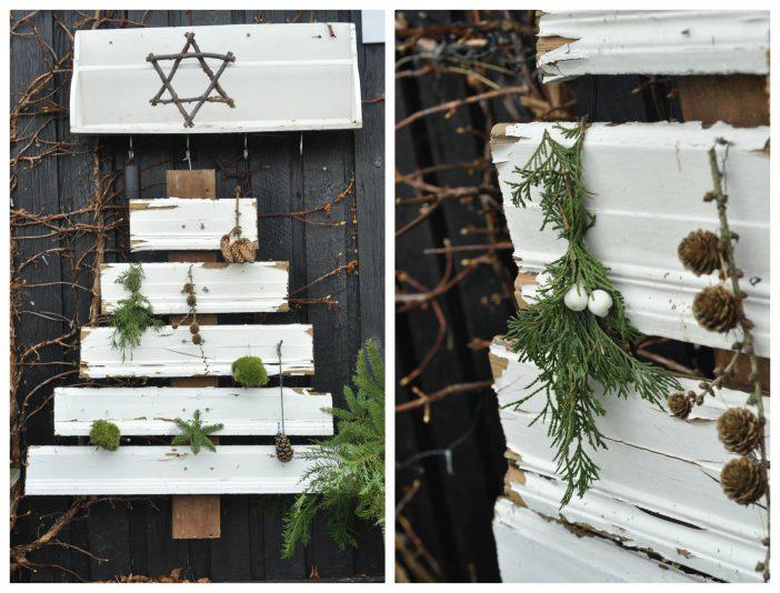 Udendørs juledekoration med juletræ af gamle brædder