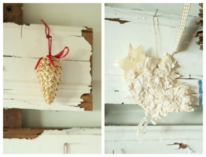 Julepynt - en halmkogle og en fugl